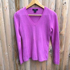 Ann Taylor Pink cashmere v neck sweater Size S